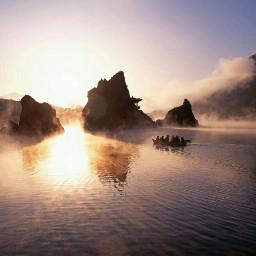 mountain people sun ocean sea