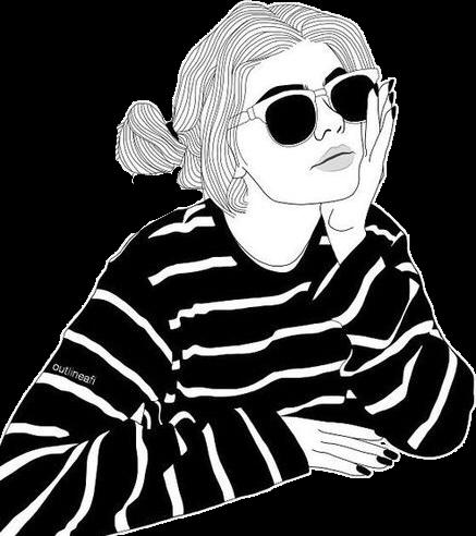Outline Tumblr Girl Black White Overlay Sun Summer Sung