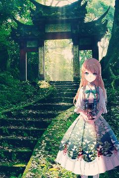 anime anime_girl realistic japan shrine