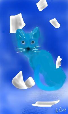 myart cat blue notthatgood drawnwithpicsart