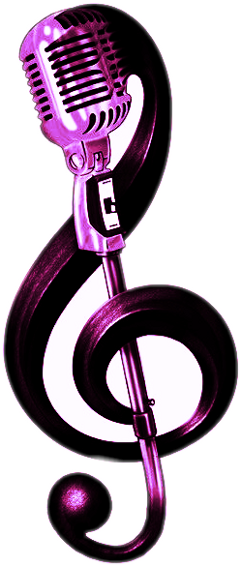 music note microphone purple black