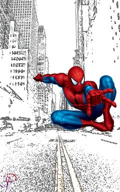 freetoedit contourseffect spiderman blackandwhite colorsplash