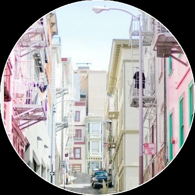 #circle #pastel #purple #pink #turquoise #tumblr #city