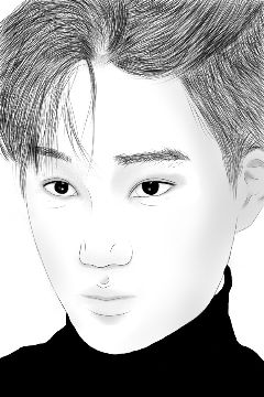 drawing outline portrait people kpop