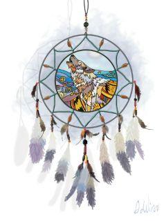 wdpdreamcatcher wolf stainedglass feathers