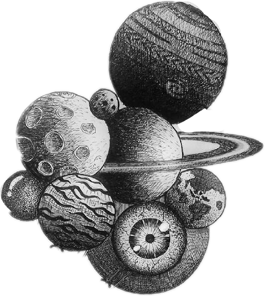 #planet#baloons#eyes#interesting #black and white