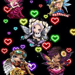 freetoedit neonhearts fairys mystickers myedit