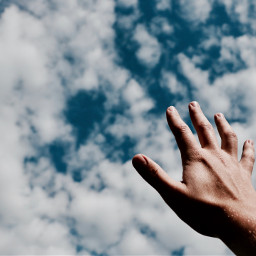 FreeToEdit hand fingers touch people sky cloud
