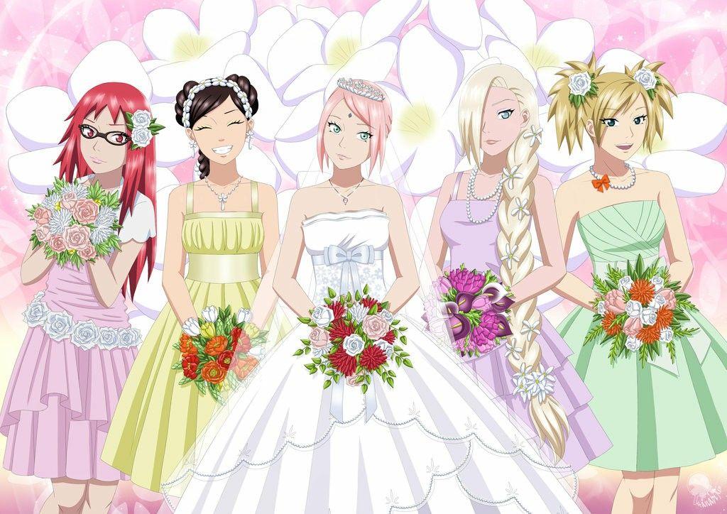 Anime Naruto Fanart SakuraHaruno wedding bride dress...