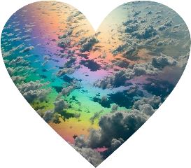 heart rainbow sky clouds beautiful