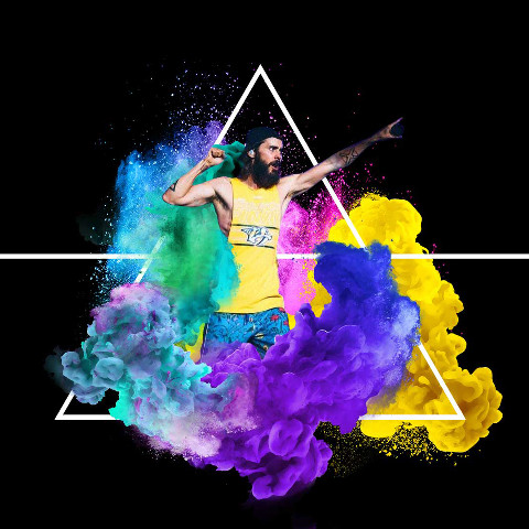 Photo edit with colorful smoke